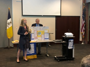 Presenting her project to help homeless Veterans. Sep 15th, 2018. Ypsilanti Library Main Branch Meeting.