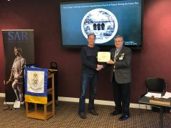 New SAR and HVC Member Paul Graham bring presented his member Certificate by MISSAR and HCR Chapter President Jim Petres