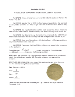 Resolution passed by the City of Albion for the National Liberty Memorial