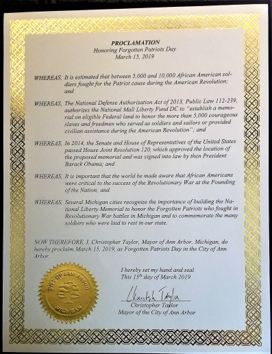 Proclamation for Forgotten Patriot's Day for the National Liberty Memorial by the City of Ann Arbor Mayor