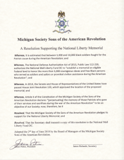 Resolution passed by MISSAR and signed by the President and scanned and then sent on to be signed by the Secretary and then on to the Memorial Fund.