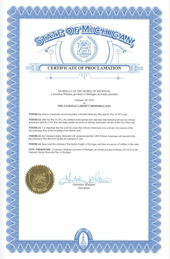 Proclamation issued by Michigan Governor Gretchen Whitmer for the National Liberty Memorial