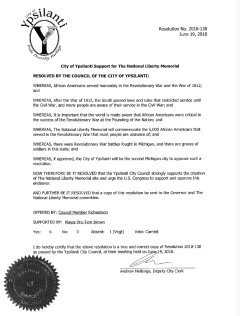 Ypsilanti Resolution passed June 19th 2018 supporting the National Liberty Memorial