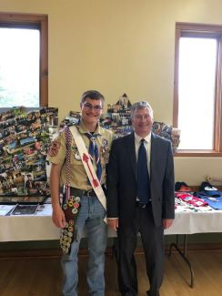 Past HVC President John Critchett presenting the Eagle Scout award to Marc Lane, of Troop #1193 in Ludington Michigan on Saturday, May 18th