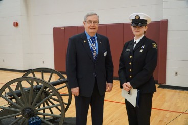 Wolverine Division of the Naval Sea Cadet Corps (NSCC) award ceremony in Monroe. The recipient of the SAR Bronze Good Citizenship Medal was CPO Alyssa Vossen. President Petres to the left.