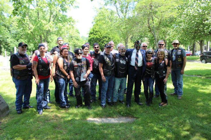 Patriot Riders with American Legion member Dick Chatman .Photo by Chris White