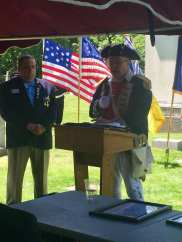 President James Petres of the Huron Valley Chapter Sons of the American Revolution and Immediate Past President of MISSAR speaks on June 22 2019 with MISSAR Secretary Shalis watching.