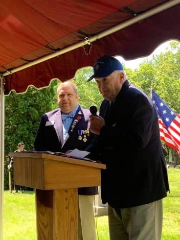 President Al Treppa of the Michigan Society of the War of 1812 speaks,