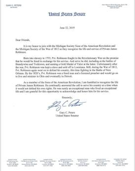 Letter from US Senator Gary Peters on Robinson