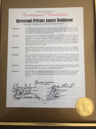 Resolution passed by the Detroit City Council honoring Robinson.