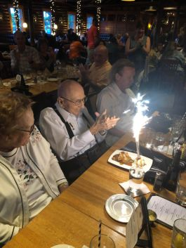 """We celebrated Compatriot Clarence """"Mike"""" Harper's 95th birthday at the Summer Social at Karl's Cabin."""
