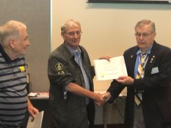 Compatriot Chuck Nolan receives his Supplemental Ancestor Certificate from President Petres.