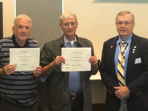 Registrar Al Treppa and Compatriot Chuck Nolan with President Petres and their Supplemental Ancestor Certificates.