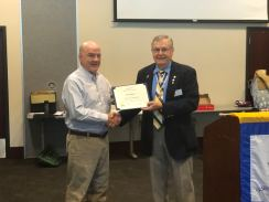 1st VP Mickey McGuire receives a Certificate of Appreciation from the National SAR for his work.