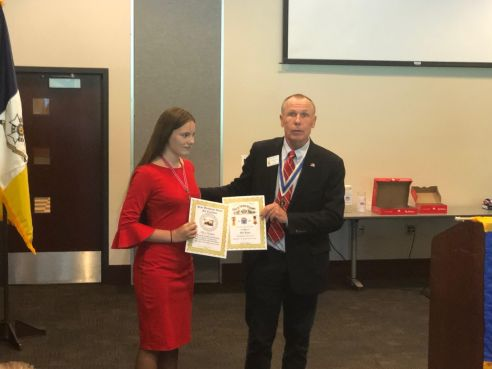 M.S.C.A.R. State President Alice Kraatz receives awards from the New Jersey SAR and New Jersey SUVCW presented by MISSAR President Goodson.