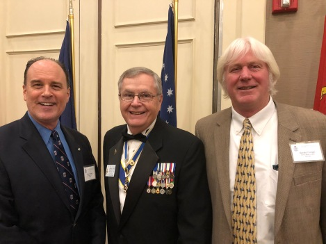 GLD Banquet photo, VPG and HVC President Petres, with HVC Trustee Barry Puckett and HVC member Gerald Conger