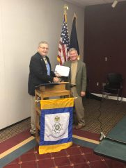 Past President John Critchett is presented the Roger Sherman Medal, Certificate of Appreciation and Century Club Certificate.