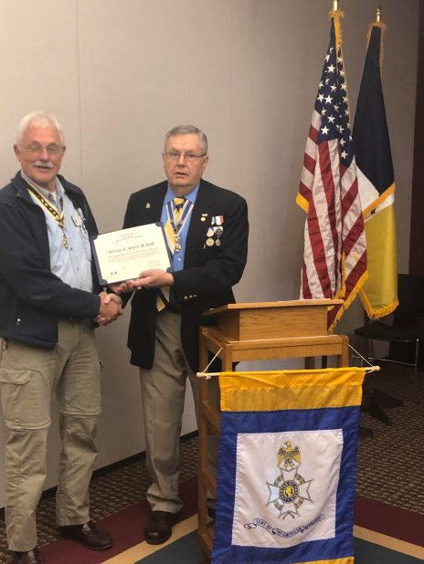 VPG and member Bill Sharp is presented the Grace Warren Medal Patron Bar by President Petres.